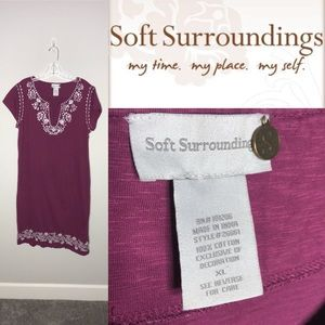 Soft Surroundings Embroidered Sequin Boho Dress XL